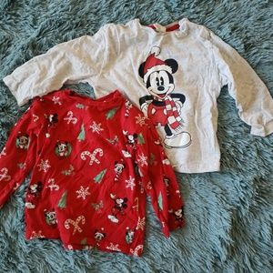Two Pack Mickey Mouse Christmas Long Sleeve Tops